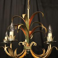 French Polychrome Toleware 5 Light Chandelier (6 of 10)