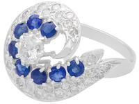 1.05ct Sapphire & 1.45ct Diamond, 18ct White Gold Dress Ring - Vintage c.1950 (3 of 9)