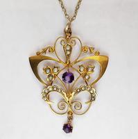 Victorian Art Nouveau 9ct Gold Pendant (2 of 9)