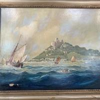 Antique French marine seascape oil painting of Mont St Michel signed Shimmin (8 of 10)