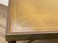 French Brass Square Leather Top Coffee Table (17 of 28)