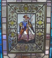 1850's Pair of Stained Glass Panels with Scenes Inset (4 of 4)