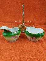 Antique Bone China Milk Jug & Sugar Bowl in Silver Pate Carry Stand C1890 (9 of 12)