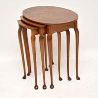 Antique Burr Walnut Oval Nest of Tables (3 of 8)