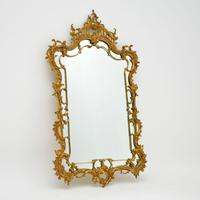 Large Antique Chippendale Style Gilt Brass Mirror