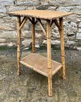 Antique Victorian Bamboo & Rattan Occasional Side Table (6 of 9)