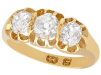 1.05ct Diamond & 18ct Yellow Gold Trilogy Ring - Antique 1866