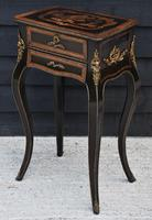 Striking 19th Century French Ebonised & Marquetry Side Table c.1880 (4 of 16)