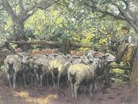 "Edwardian Pastel Painting ""The Sheepfold"" By John Robert Keitley Duff RI RA Rse (2 of 34)"