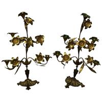 Pair of Art Nouveau French Gilt Bronze Ormolu 5 Branch Candelabra's & Ivory White Wax Candles (2 of 18)
