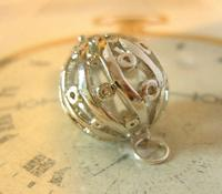 Vintage Pocket Watch Chain Fob 1970s Large Fancy Chrome Ball Fob (6 of 6)