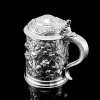 Antique Solid Sterling Silver Large Tankard with Royal Marines Officer Interest - Goldsmiths & Silversmiths Co 1900 (15 of 28)