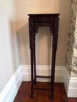 Tall Chinese Hardwood Jardinière Plant Stand with Marble Top (5 of 11)