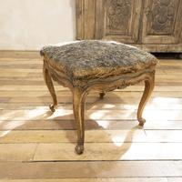 Elegant Small French Louis XV Walnut and Upholstered Foot Stool (7 of 7)