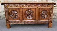 Carved Oak Blanket Box / Kist