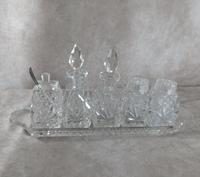 Victorian Cut Glass Five Piece Cruet Set on  a Cut Glass Tray
