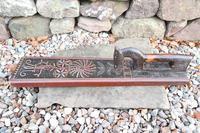 Scandinavian / Danish 'Folk Art' Horse handle mangle board with chip carving & original  black/red paint BPD c.1820