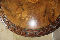 Antique 19th Century Mahogany & Burr Maple Marquetry Veneer Side Table (6 of 14)