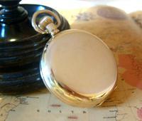 Pocket Watch 1937 Swiss 15 Jewel 9ct Rose Gold Filled Half Hunter FWO (7 of 12)