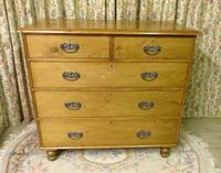Lovely 2 Over 3 Victorian Stripped Pine Chest of Drawers with Fancy Pierced Metal Handles (5 of 9)