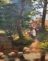 John Barter Lovely 19th Century Oil Painting 'Crossing the Stones' (6 of 14)