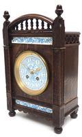 Fine Antique Arts & Crafts Mantel Clock – 8-day Carved Delftware Striking Mantle Clock (4 of 11)