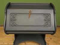 Antique Art Nouveau Black Writing Bureau Desk with Carvings, Lockable, Gothic (2 of 23)