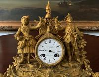 Large Superb Original 19th Century Glass Domed Gilt Mantle Clock For Minor Tlc (5 of 14)