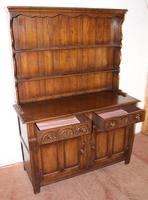 1960s Carved Golden Oak Dresser with Display Rack (3 of 6)