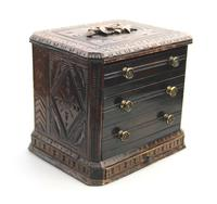 Black Forest Miniature Apprentice Piece Carved Chest 19th Century (2 of 11)
