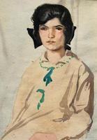Original Antique Watercolour Portrait Painting of a Girl Guide c.1919 (3 of 9)