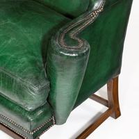 George III Green Leather Wing Armchair (4 of 5)