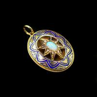 Antique Blue Enamel Opal and Diamond Star 15ct Gold Oval Locket Pendant (4 of 11)