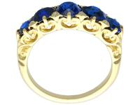 3.15 ct Basaltic Sapphire and Diamond, 15 ct Yellow Gold Five Stone Ring - Antique c.1910 (6 of 9)