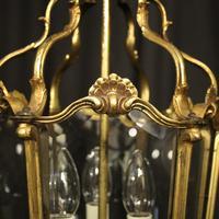 French Gilded Bronze Triple Light Antique Hall Lantern (5 of 10)