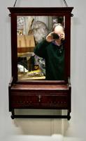 Victorian Mahogany Cloakroom Wall Mirror with Towel Rail (4 of 6)