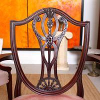 6 Dining Chairs Hepplewhite Mahogany Leather 19th Century (4 of 15)