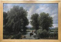 Original oil on canvas 'Watering the horses' by William Taunton. Signed. c.1870