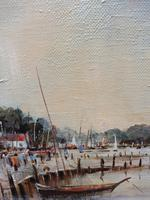 Large Oil on Canvas Dockside View Listed Artist Ira Englefield (9 of 12)