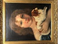Victorian 19th Century Oil Painting Portrait Young Girl & Cavalier King Charles Spaniel (28 of 34)