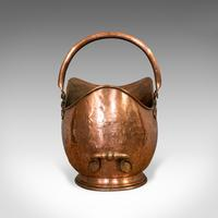 Antique Helmet Scuttle, Copper, Coal, Bucket, Fireside, Bin, Victorian c.1880 (5 of 9)