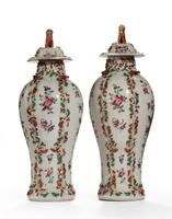 Pair of Late 19th Century Oriental Porcelain Baluster Shaped Vases (2 of 2)