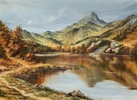 Original 20th Century Snowdonia Lake North Wales Welsh Mountain Landscape Oil Painting (2 of 12)