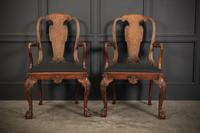 Pair of Queen Anne Style Walnut Carver Chairs c.1920 (3 of 19)
