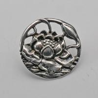 Art Nouveau Set of Edwardian Silver Floral Pierced Buttons (2 of 4)