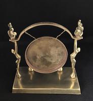 Art Deco Brass Dinner Gong & Striker (4 of 6)