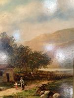 Antique Victorian large landscape oil painting in gilt gesso frame by E Yates (9 of 10)