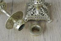 Pair of Victorian William Tonks Brass Candlesticks Register Diamond Mark '1882 WT&S' (3 of 9)