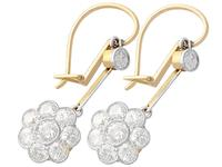 2.75ct Diamond, 15ct Yellow Gold & Platinum Drop Earrings - Antique c.1910 (2 of 12)
