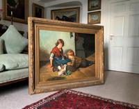 Huge Stunning 20thc Oil Portrait Painting Of 2 Children Playing In A Barn (12 of 12)